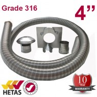 "4"" 316 Stainless Steel Flexible Flue Liner Kit"