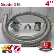 "4"" 316 Stainless Steel Flexible Flue Liner Pack with a Hanging Cowl"