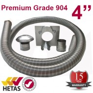 "4"" 904 Stainless Steel Flexible Flue Liner Kit"