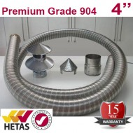 "4"" 904 Stainless Steel Flexible Flue Liner Pack with a Hanging Cowl"