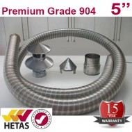 "5"" 904 Stainless Steel Flexible Flue Liner Pack with a Hanging Cowl"