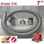 "7"" 316 Stainless Steel Flexible Flue Liner Pack with a Hanging Cowl"