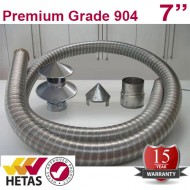 "7"" 904 Stainless Steel Flexible Flue Liner Pack with a Hanging Cowl"
